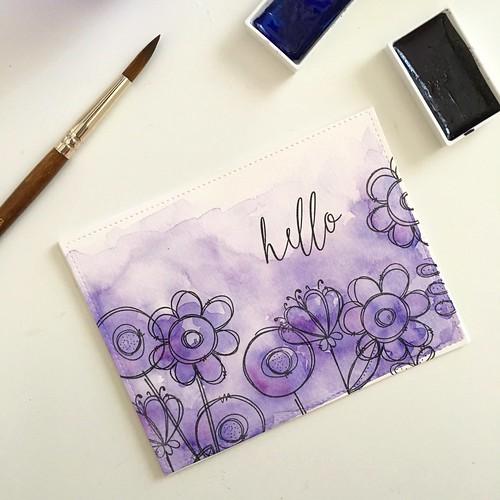 Watercolor doodle buds