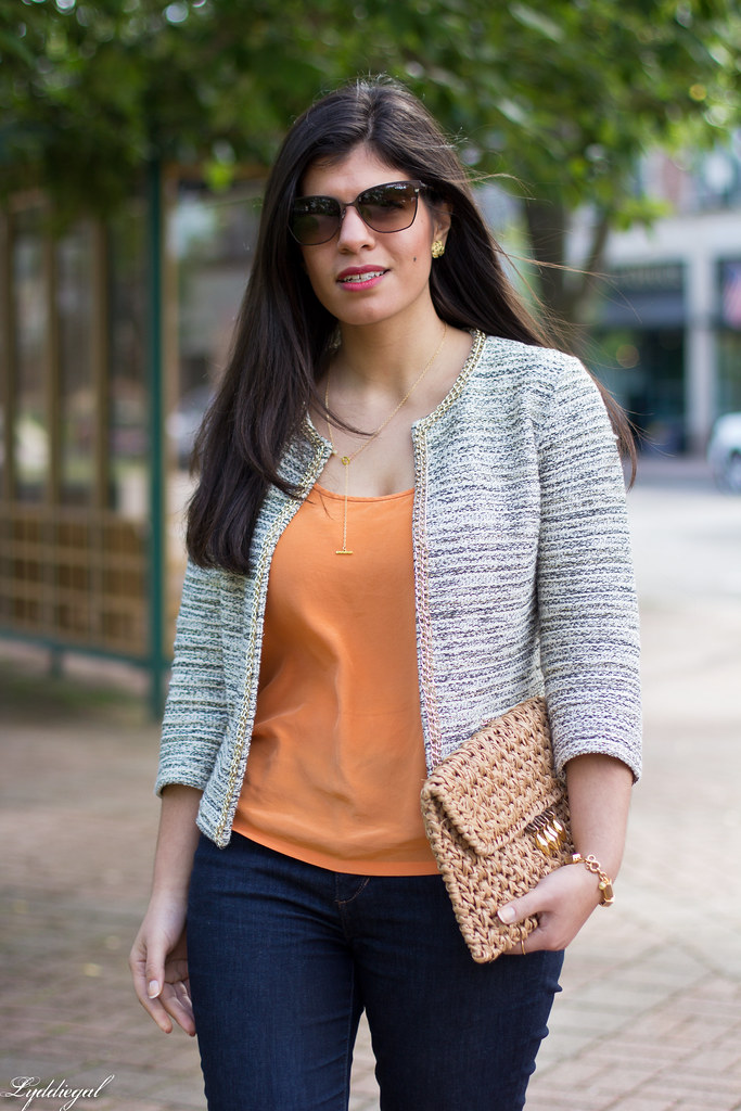 textured jacket, orange tank, denim, straw clutch-3.jpg
