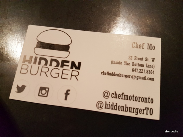 Hidden Burger business card