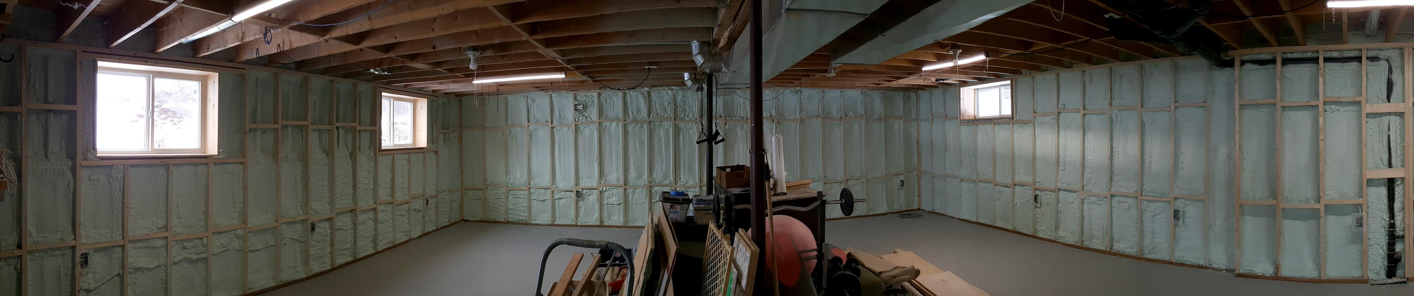 basement framing and spray foam insulation
