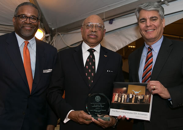 Dr. Gregory Vincent with Col. Leon Holland and President Greg Fenves