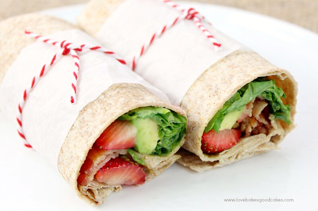 These Bacon, Avocado & Strawberry Wraps are inspired by a well-loved salad. Jazz up lunch with these salty, sweet and creamy wraps!
