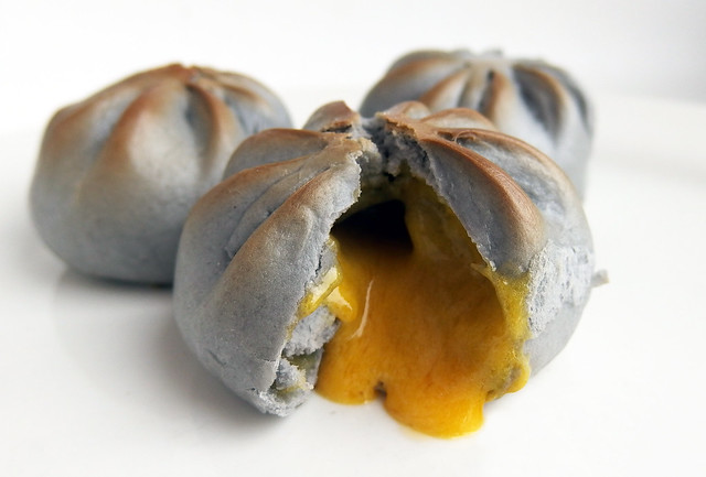 Charcoal Salted Egg Custard Pau