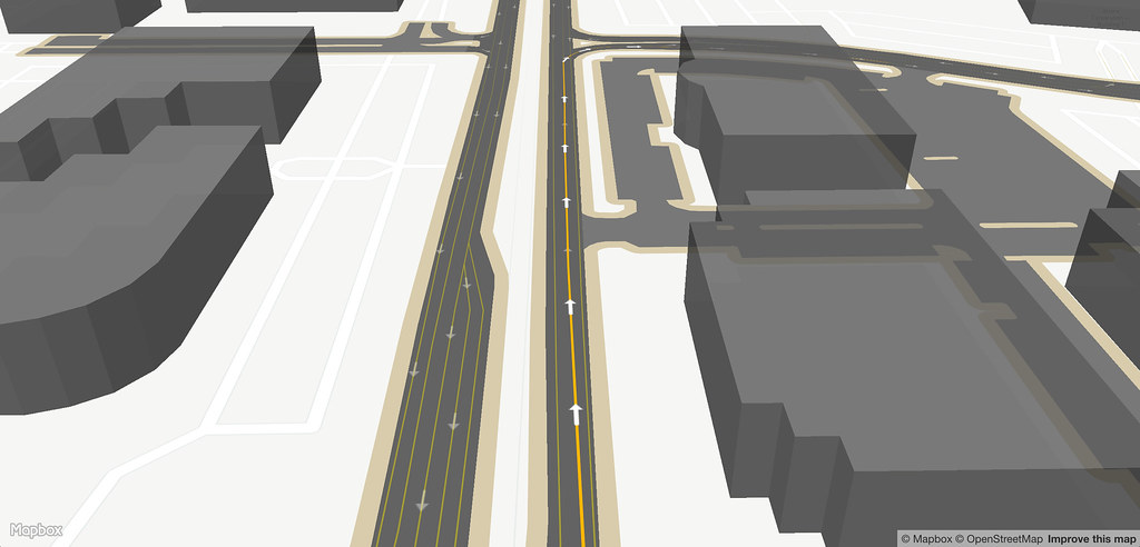 Lane with 3d buildings