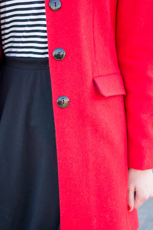 red coat + black and white stripe Target turtleneck + black skirt + red J.Crew crossbody; Valentine's Day work outfit | Style On Target blog
