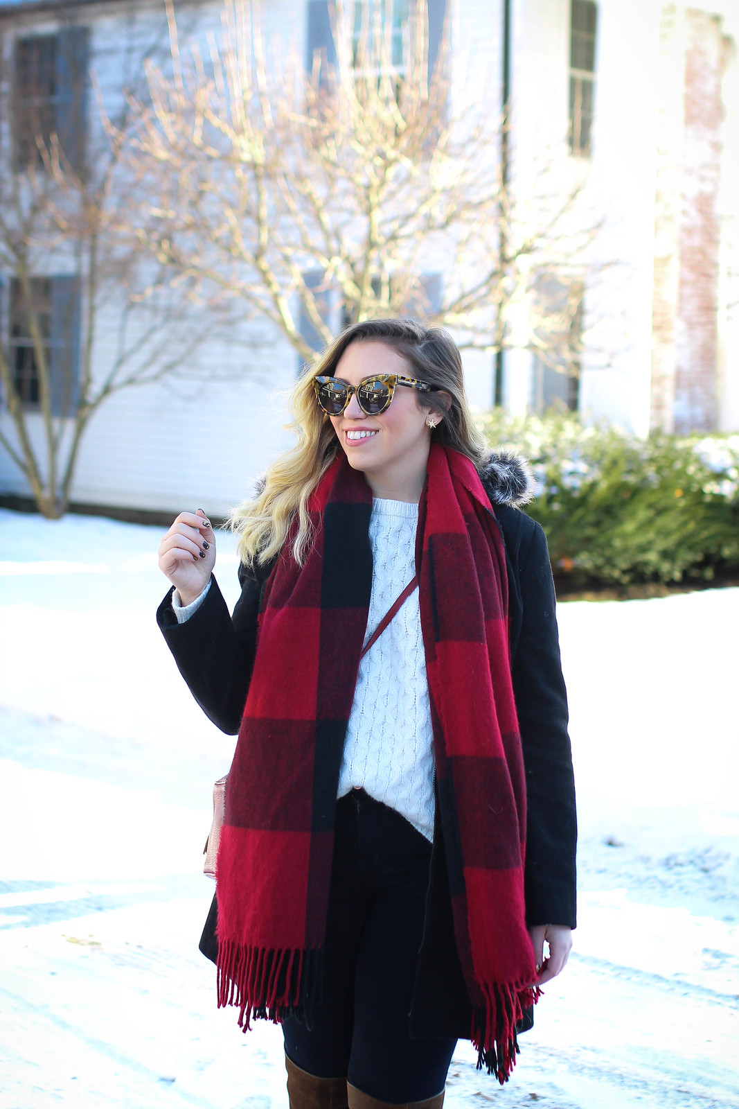 Karen Walker Starburst Cat Eye Sunglasses. Red Plaid Blanket Scarf