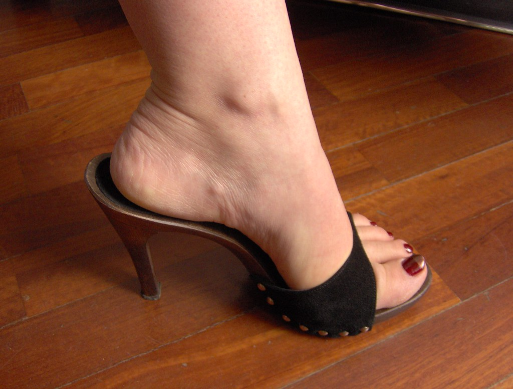 image High heel sandals and nylons