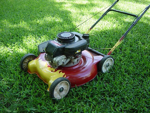 Lawn mower flame-job