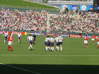 USA Women Celebrate a Goal at 2003 FIFA World Cup against Canada in Consolation Game | by ExperienceLA