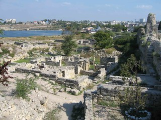 Chersonesus ruins, with Simferopol backdrop | by Mary Loosemore