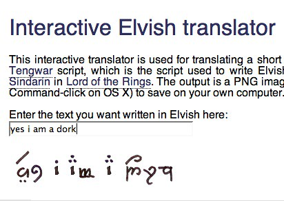 Elvish writing translation