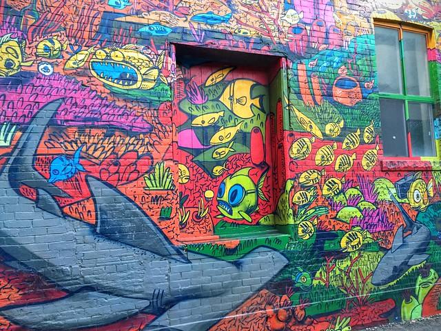 La vie sous-marine vue en Street Art par Uber5000, Graffiti Alley, Toronto, Canada