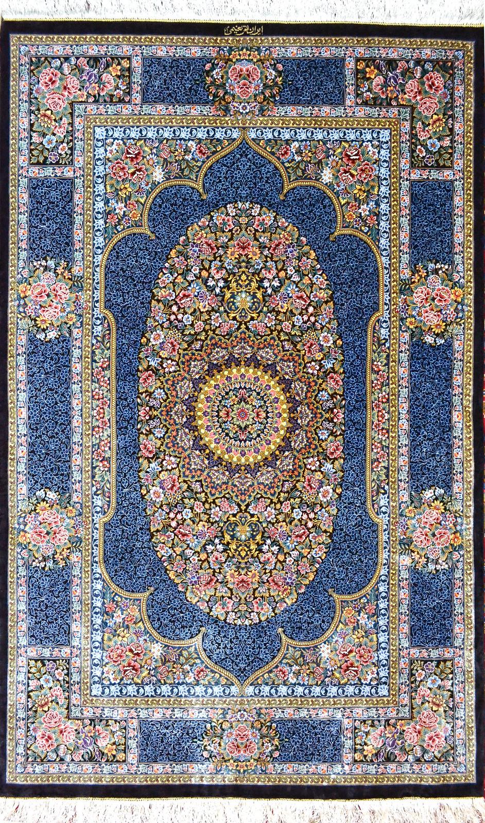 Qum Pure Silk Persian Rug Blue 3x5 Masterpiece 1000 KPSI (1)