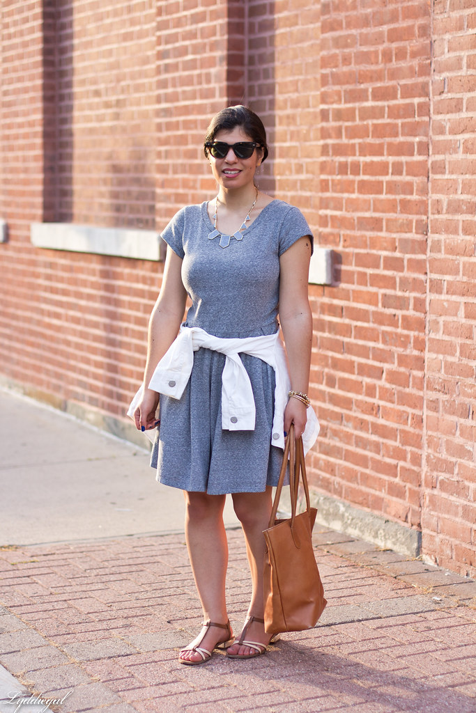 grey sweatshirt dress, white denim jacket, sandals.jpg