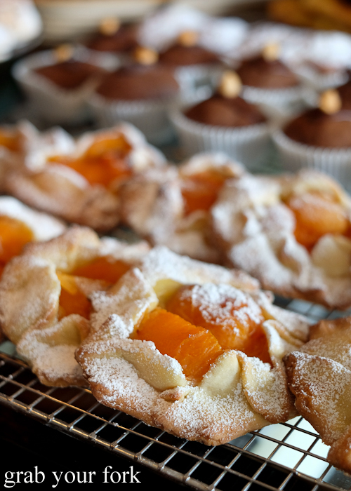 Peach galette tarts at Pigeon Hole Bakery in Hobart Tasmania