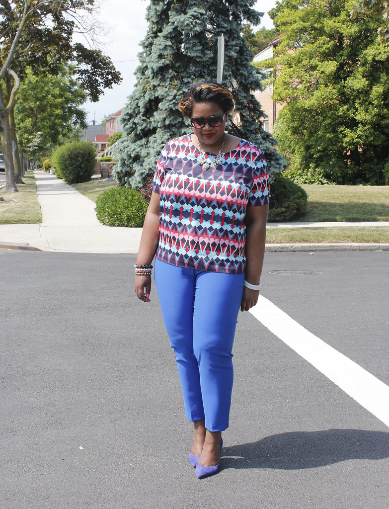 multiprint blouse and cobalt blue pant