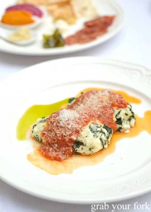Steamed ricotta, parmesan and spinach gnocchi at Geoff Jansz Farm Table Restaurant, Mittagong