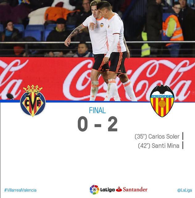 La Liga (Jornada 19): Villarreal 0 - Valencia 2