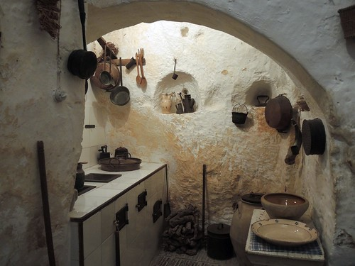 Italy (Matera) Kitchen of Sasso-Cave house dug into the limestone rocks (World Heritage Site) | by ustung