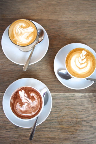 Flat White Coffee and Brunch in Melbourne: The Kettle Black (50 Albert Road) - flat white, latte, hot chocolate