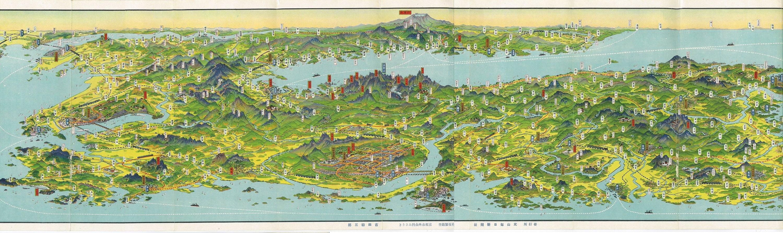 Bird's eye view map of part of the Korean Peninsula