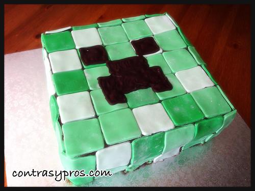 Tarta Minecraft, creeper, paso a paso, tutorial, video, fondant