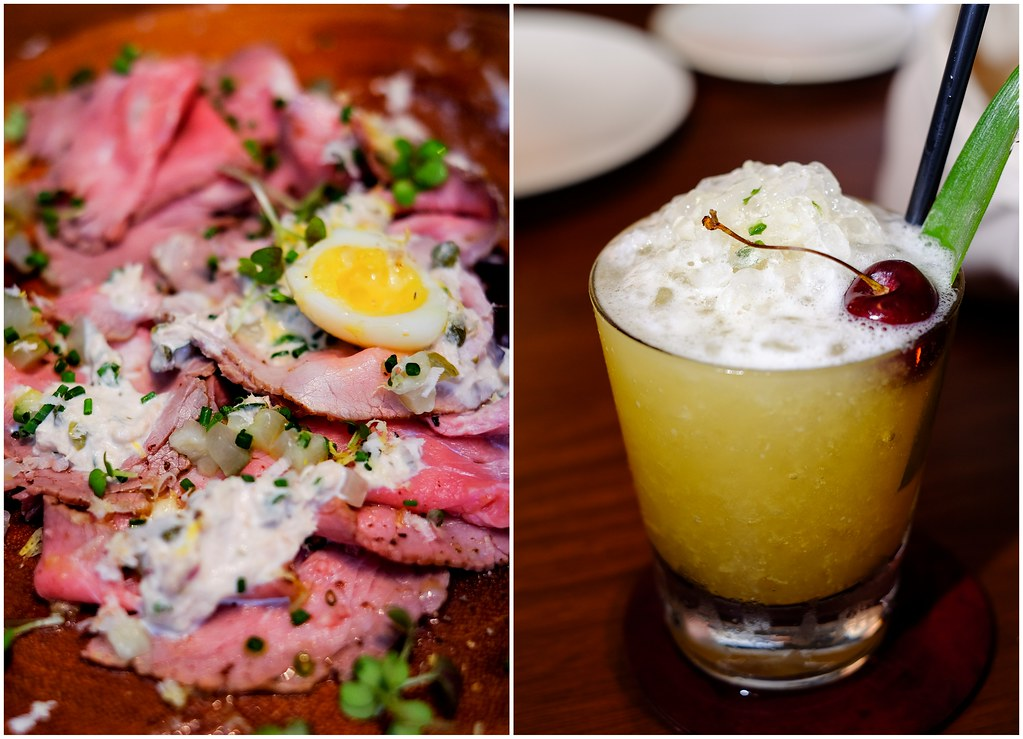 Bread Street Kitchen Dish: Roasted Veal Carpaccio with Dill Pickles, Quail's Egg and Tuna Dressing