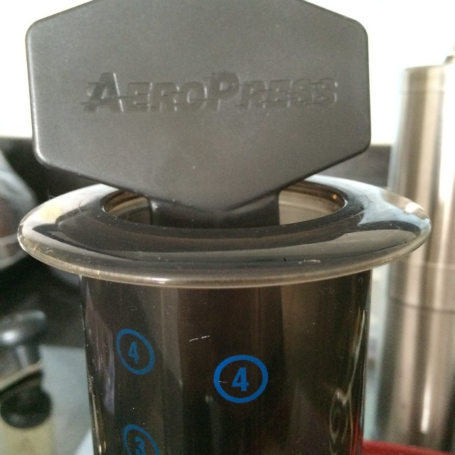 A close up of an Aeropress.