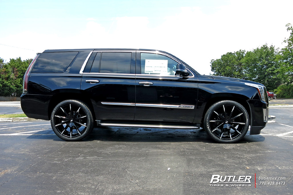 Lowered Cadillac Escalade With 24in Lexani Css15 Wheels
