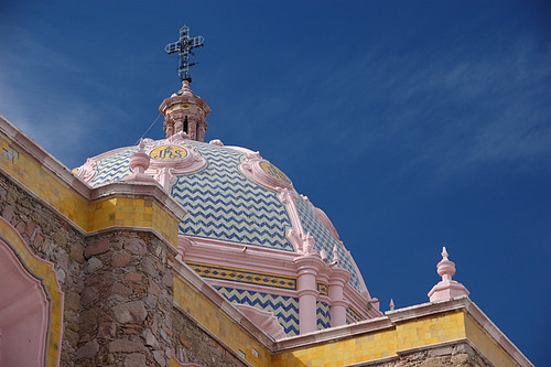 Church with mosaic tile roof in Aguascalientes, Mexico