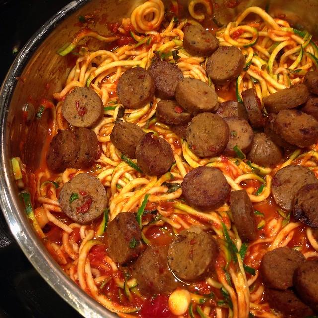 vegan tofurky sausage in zucchini noodle spaghetti