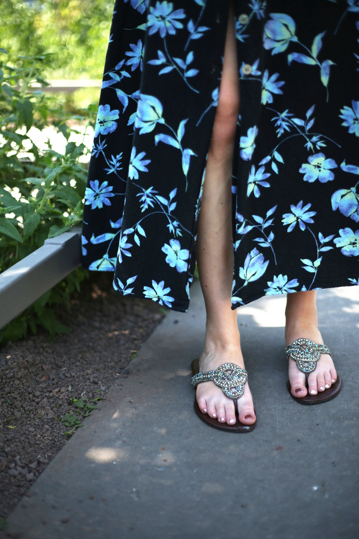 fibi & clo sandals, vintage floral button through maxi dress
