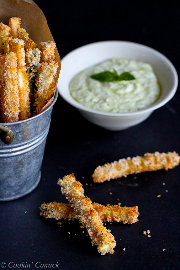 You're going to love these Baked Zucchini Fries with Pesto Yogurt Dipping Sauce. Healthy and absolutely addictive!112 calories and 3 Weight Watchers SmartPoints