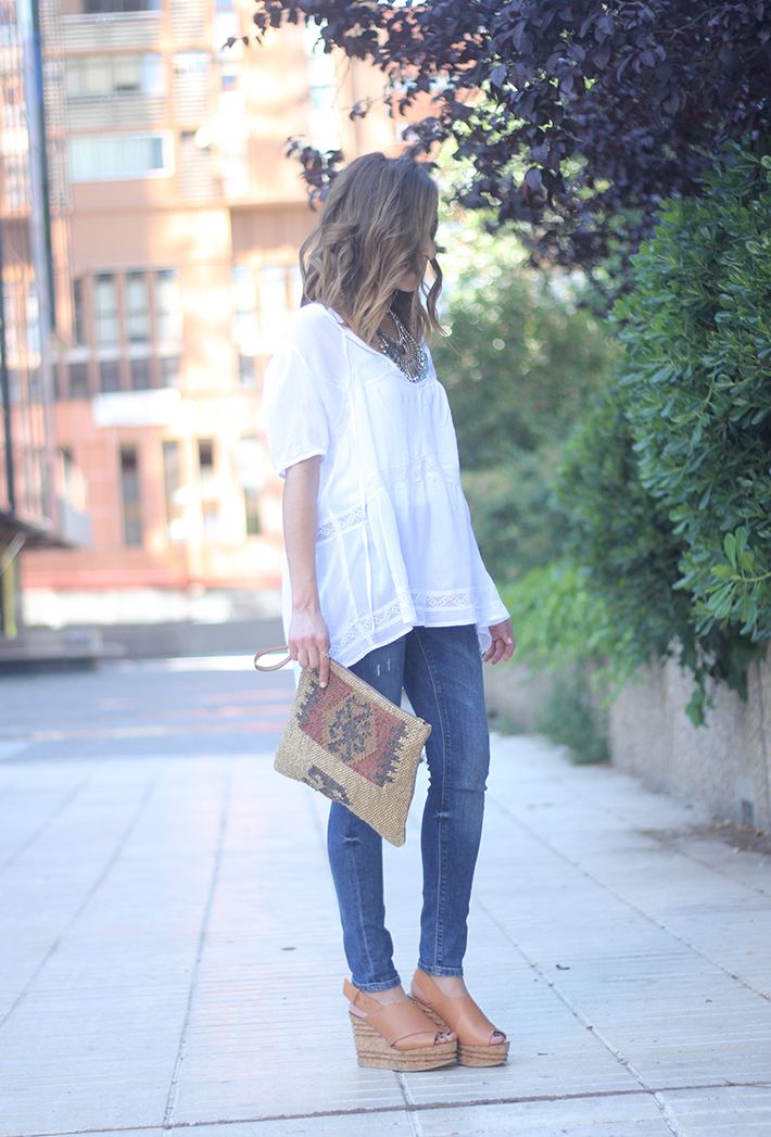 White Blouse Denim Jeans Outfits Summer Wedges Sheinside 10