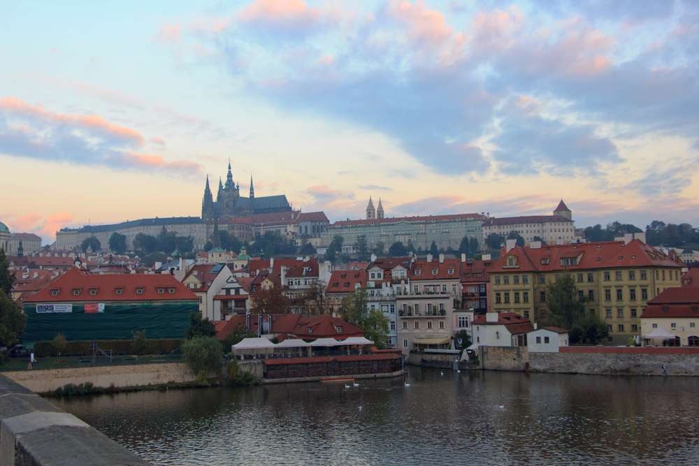 Prague Castle at Sunrise from Charles Bridge