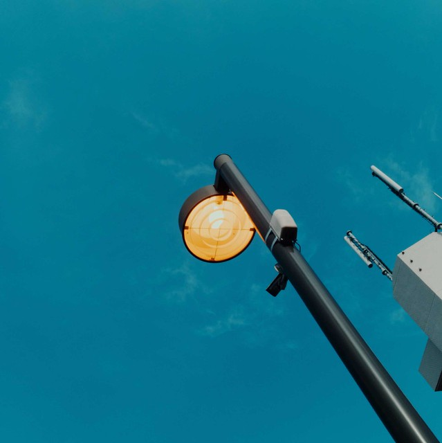 Street light and blue sky