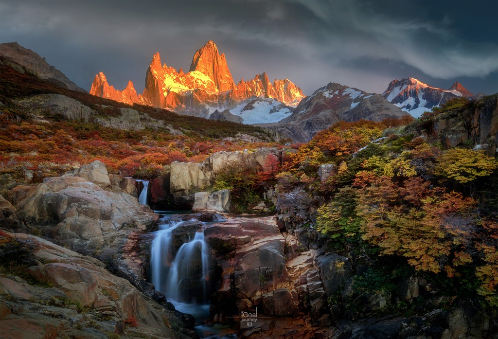 Patagonia South America >> Secret waterfall in autumn forest. Mt. Fitz roy in the bac ...