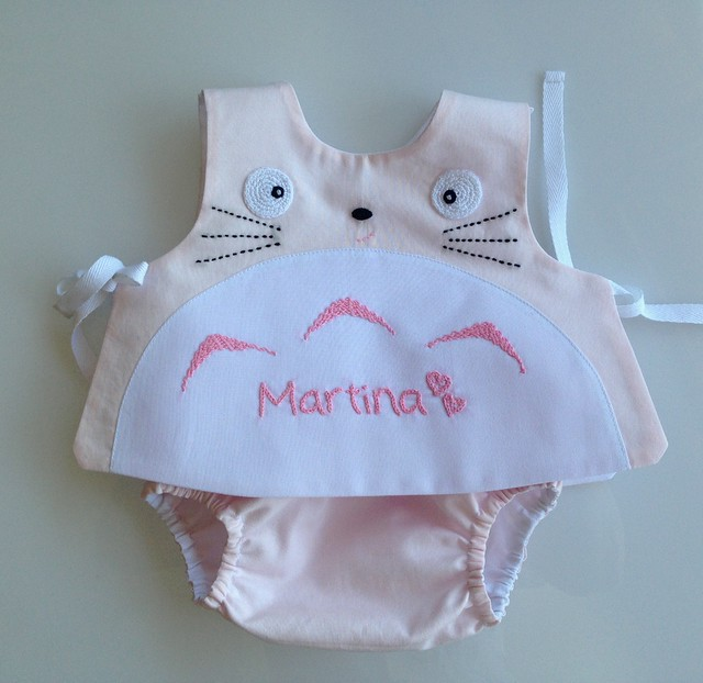 top and diaper cover pink totoro