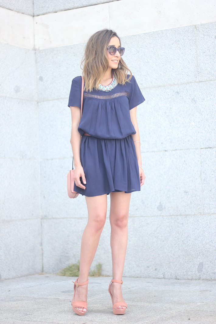 Blue dress Sheinside Wedges summer outfit07