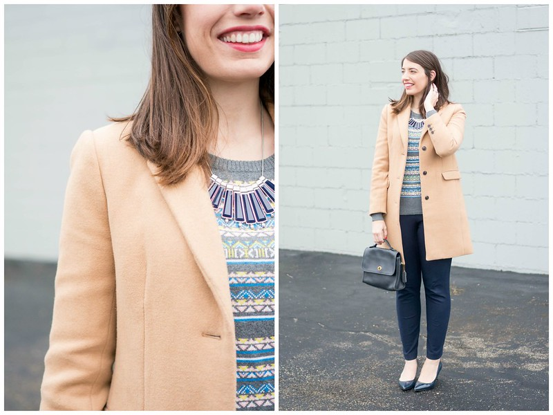 gray fair isle sweater + navy dress pants + tan camel winter dress coat + winter work outfit | Style On Target blog