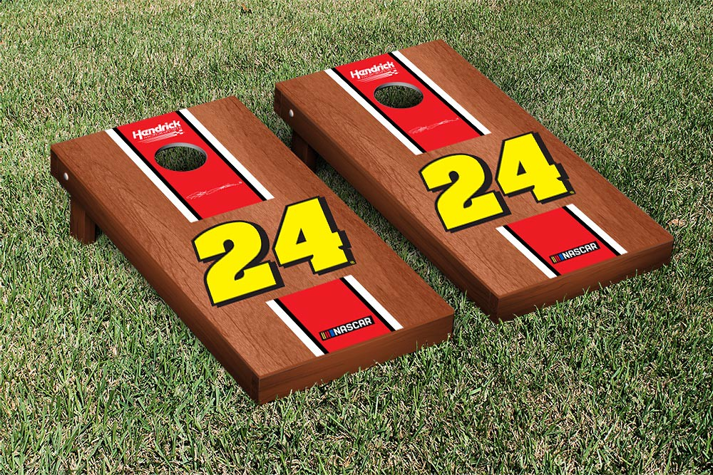 JEFF GORDON #24EVER CORNHOLE GAME SET ROSEWOOD STAINED STRIPE VERSION (1)