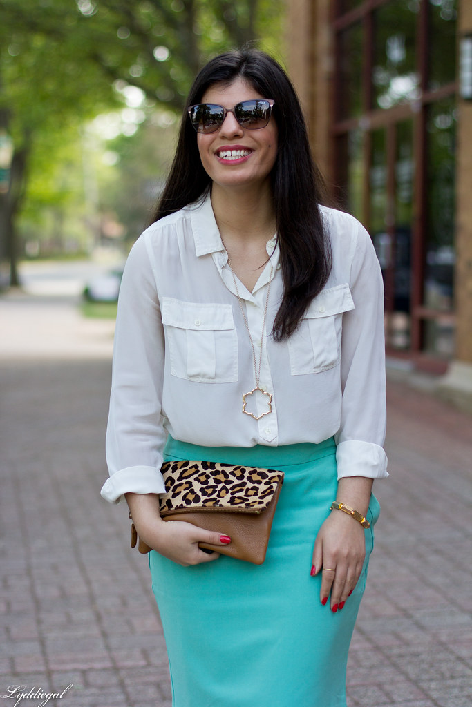 mint green pencil skirt, white blouse, leopard clutch-4.jpg