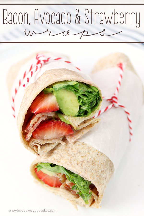 Bacon, Avocado & Strawberry Wraps.