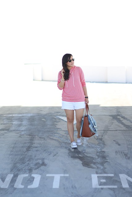 simplyxclassic, stripes, hoodie, striped hoodie, gap jacket, white cutoffs, madewell bag, ootd, mommy blogger, fashion blogger, orange county