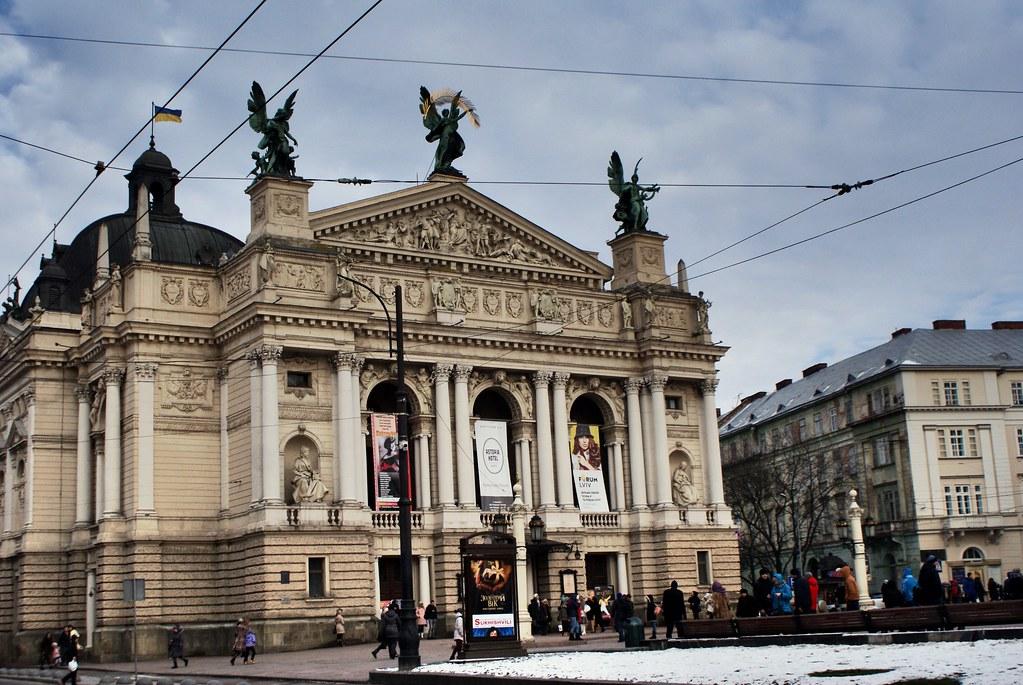 Opéra de Lviv sur l'avenue Svoboda.