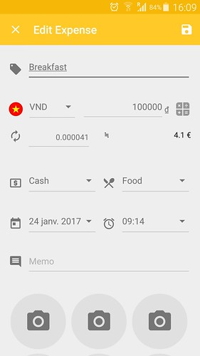 Application Handtrip - expensedetails