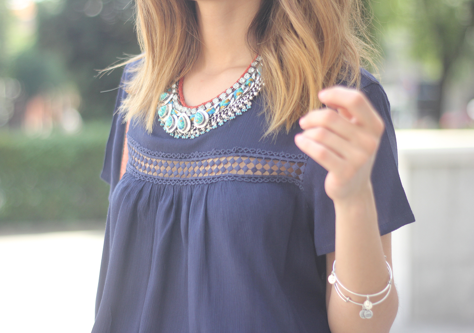 Blue dress Sheinside Wedges summer outfit10