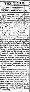 Bill Wheeler convicted in MD slave insurrection: 1845