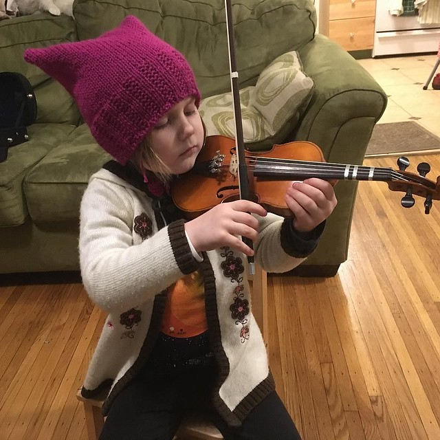 Maddy stole my pussyhat and wore it for violin practice (she had an AMAZINGLY good practice session tonight!)