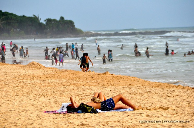 Locals and Foreign Tourists at Bentota Beach Sri Lanka